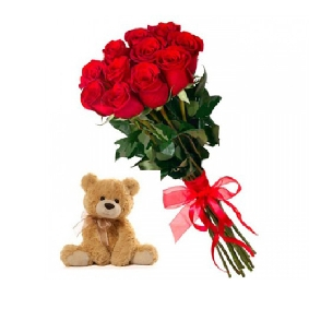 11 Red Roses and Teddy